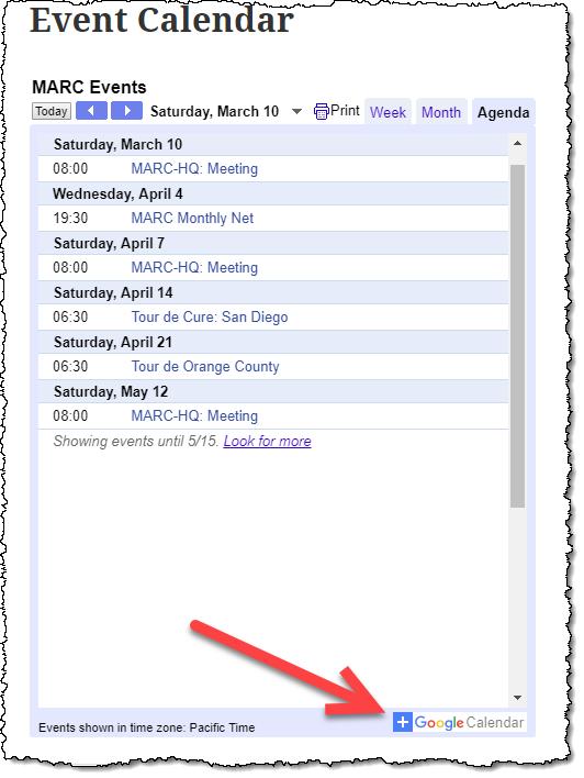 MARC Event Calendar